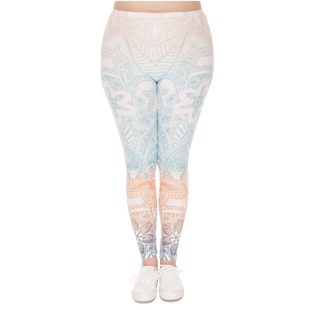 Hot Sales Large Size Leggings Mandala Mint Printed High Waist Leggins Plus Size Trousers Stretch Pants For Plump Women