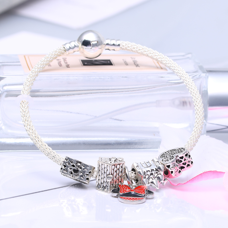 CHIELOYS Silver Color Mickey Minnie Alloy Beads And Pendant Charm Pandora Bracelet & Bangles For Women Jewelry Children Gift