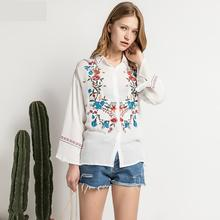 Embroidery Blouse Top Women Flower Print Full Sleeves Tops For Casual New Summer 2017 Europe Lapel Slim Knitted Cardigan Cotton
