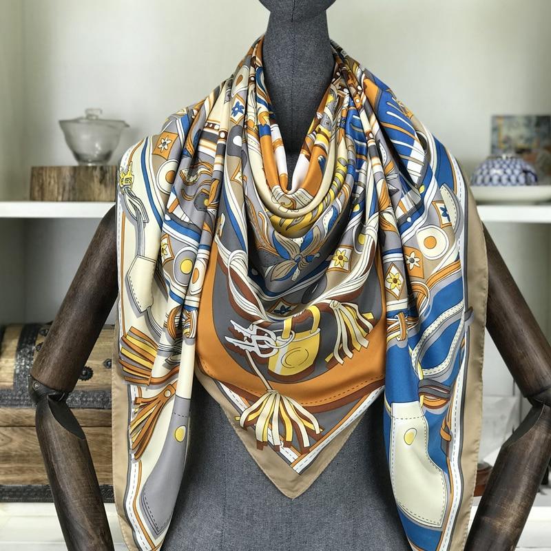 Spring 100% Silk Scarf Women Large Shawls Floral Print Stoles Square Bandana Luxury Brand Kerchief Scarves Female Foulard 130cm