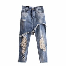 Irregular Hole Torn Curl Jeans Women Washed Old Ripped Jeans Mock Two-Piece Denim Pants Capri Street Fashion Female Culottes
