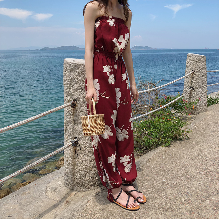 2019 Summer Floral Print Strapless Soft Women Rompers High Waist Side Slit Stretchy Cuff Women Casual Beach Jumpsuits 9
