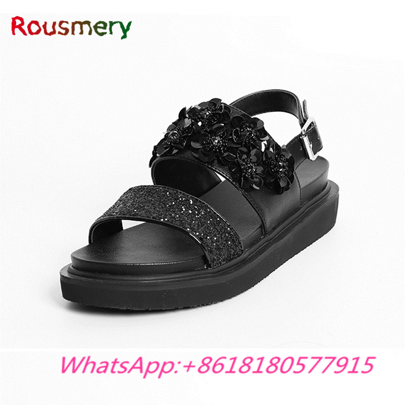 Fashion Atrractive Crystal Decoration Wedges High Heels Woman Sandals Summer Casual Comfortable Flower Zapatos Mujer Tacon