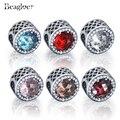 100% real 925 plata esterlina 8 colores de cristal radiante corazón charm fit pandora original pulsera del encanto colgante joyas auténticas