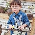 2016 meninas primavera e no outono camisa roupas para crianças desenhos animados bonitos lapela casuais Erros Coelho azul bebê denim camisa de manga longa s