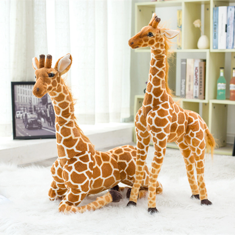 1pc 60cm Simulation Plush Giraffe Toys Cute Stuffed Animal Dolls Realistic Giraffe Toy for Children& GirlsBirthday Gift Kids Toy lps toy pet shop cute animals cats giraffe kids action figures pvc lps toys for children birthday christmas gift 8pcs set