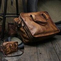 Винтаж Портфели Портативный Для мужчин сумка ручной работы сначала Слои кожа Бизнес дорожная сумка Для мужчин плечо диагональ компьютер су