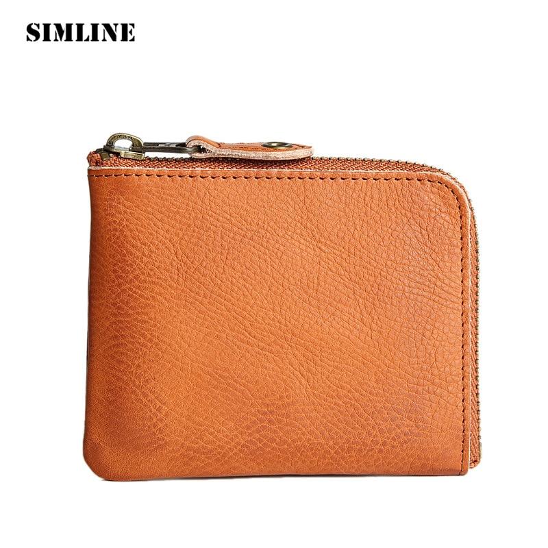 SIMLINE Vintage Genuine Leather Cowhide Men Mens Male Short Slim Small Zipper Wallet Wallets Coin Purse