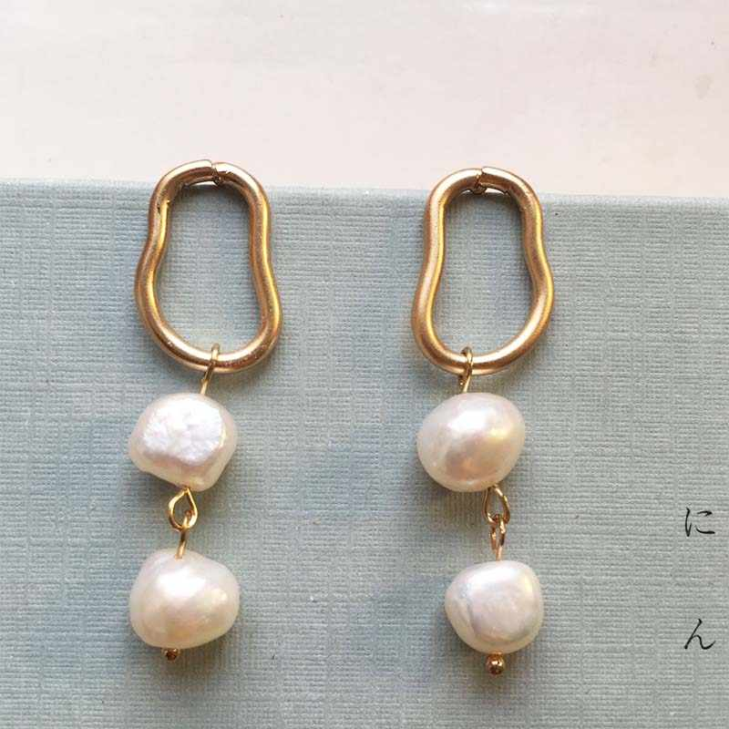 Korean Fashion Irregular Geometric Pearl Earrings for Women Chic Elegant Wedding Jewelry