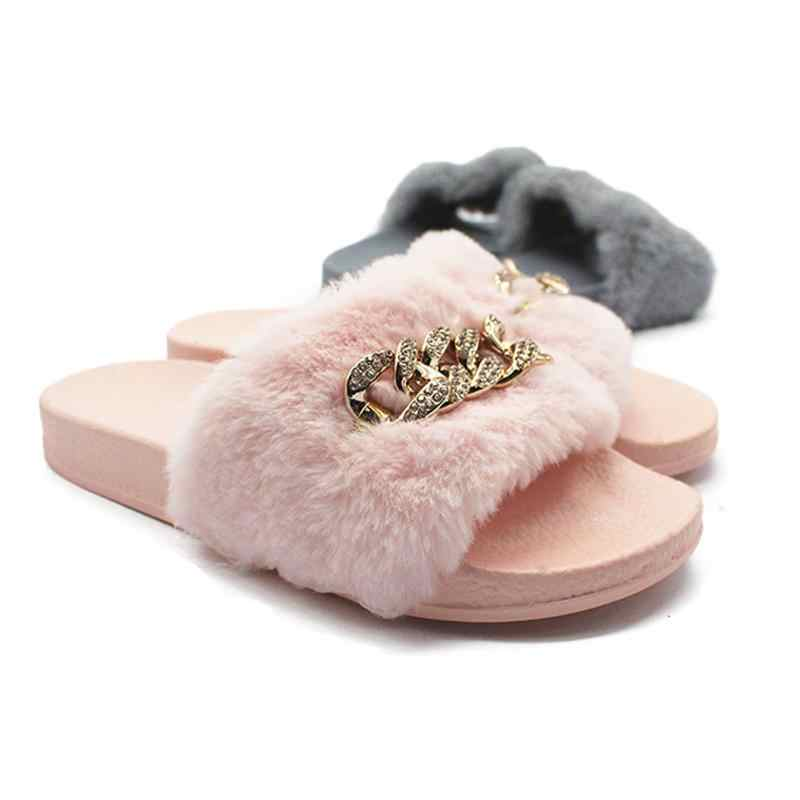 6fe19f30e103c0 Autumn Winter Warm Home Slippers Women Fur Slides Fashion Diamante Chain  Mules Plush Indoor Slippers Comfortable