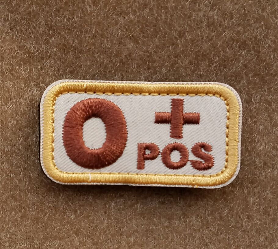 O+ POS Positive Blood Type Emergency Recognition Embroidery Hook Loop OPS Armband Army Military Sticker Backpack Patch Khaki