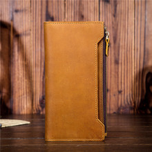 crazy horse leather mens long wallet pure first layer vintage 5505 - 3