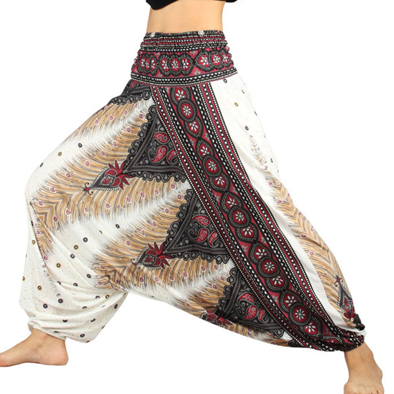 One Size Women Thai Indian Harem Trousers Comfy Boho Pants Long Beach Summer Pants Casual Loose Low Cut Floral Trousers Mandala
