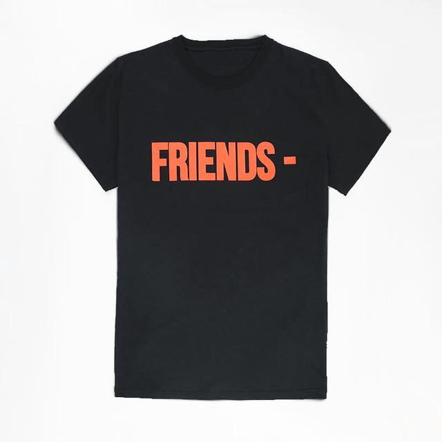 Simple letter T shirt orange Street retro V friends tee men and women T-shirt V