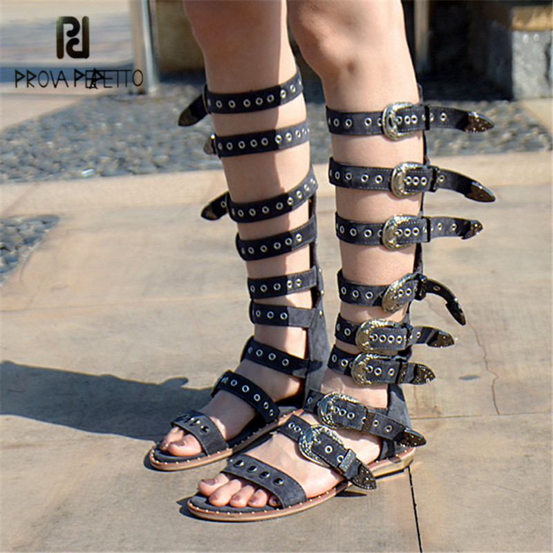 Prova Perfetto Punk Style Women Gladiator Sandals Open Toe Rivets Buckle Belt Decor Summer Boots Female Flat Shoes High Boots runtogether new summer women gladiator flat sandals shoes woman retro punk metal chain shoes open toe rome sandals size 35 40