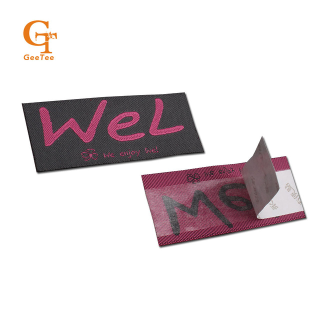 garment custom brand name logo back side adhesive tape peel off clothing  sewing woven labels stickers