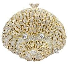 Goldene geezer form neue art und weise menschen head strass handtaschen luxus kristall frauen geldbörse parteibeutel sc165