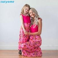 Cutyome Estate Vestiti Da Madre Figlia Vestiti Rosa Senza Maniche Sguardo Famiglia Corrispondenza Mamma Genitore Vestito Della Ragazza Dei Capretti Vestiti Outfit