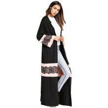 185780 Muslim Women Color Loose Cardigan Dress Lace Crochet Arabia Robes for Ramadan Musulman Vestidos Mujer