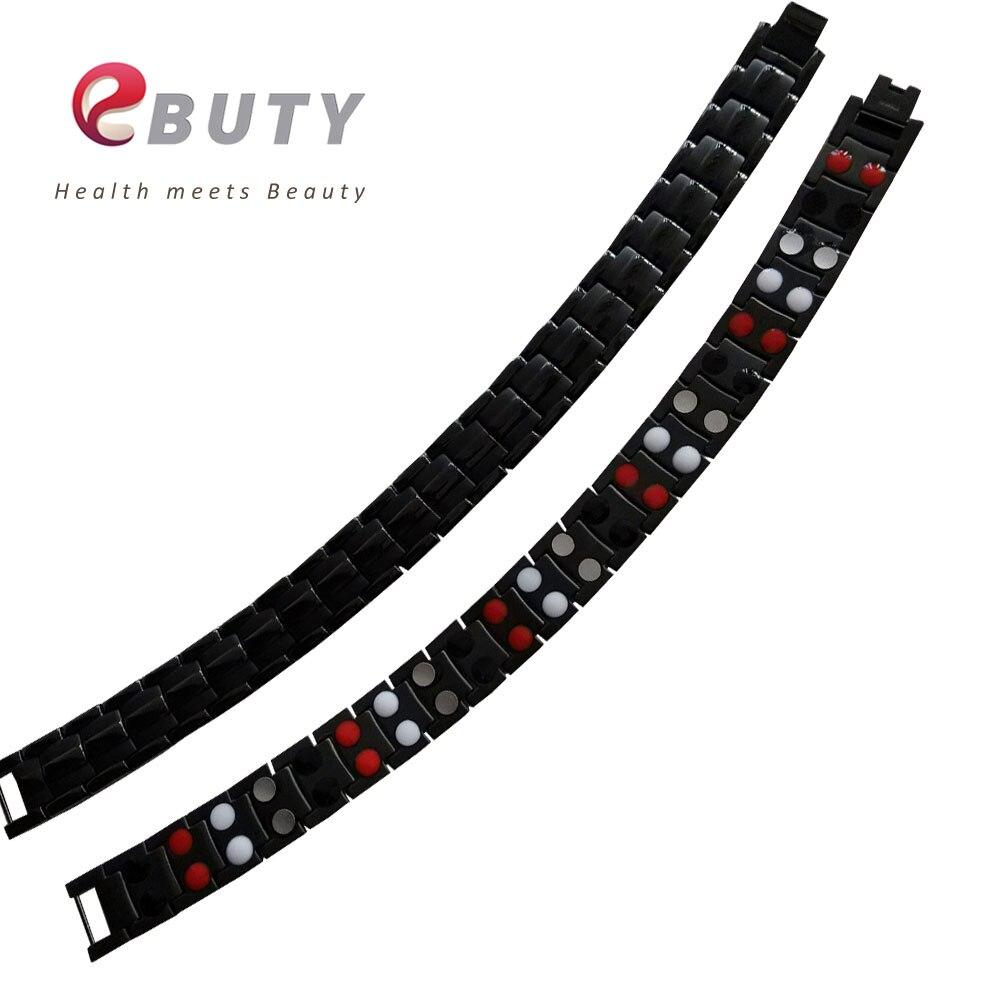EBUTY Noir Bracelet En Acier Inoxydable De Mode Bracelets de Santé avec Pierre Énergétique et Emballage de Vente Au Détail Boîte 30 pièces DHL Gratuit