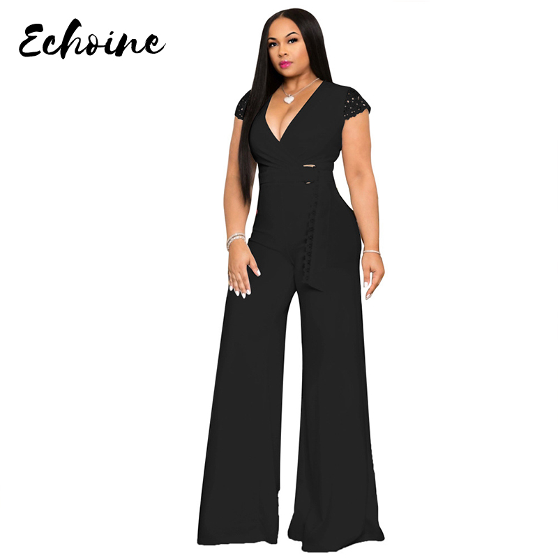 Echoine Women Sexy V Neck Sleeveless Lace Patchwork Soild Color Long Wide Leg Jumpsuit Casual Plus Size XXL Overalls With Sashes