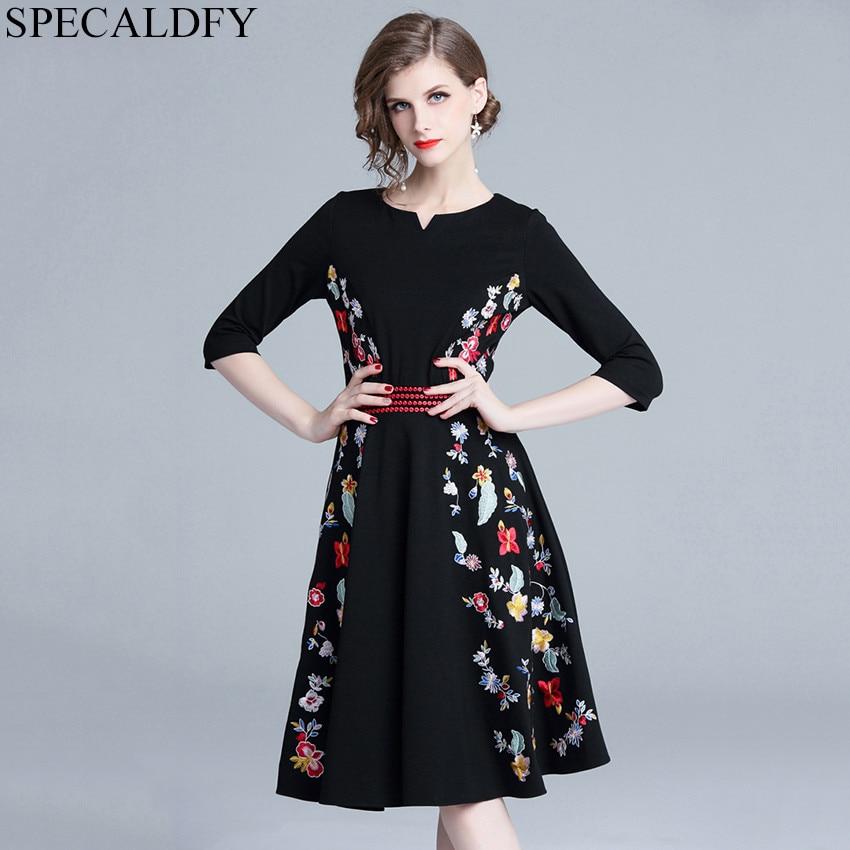 628f43765 Detalle Comentarios Preguntas sobre Alta calidad mujer moda 2018 floral  bordado vestido damas Oficina vestido Vintage primavera otoño Vestidos Robe  Femme ...
