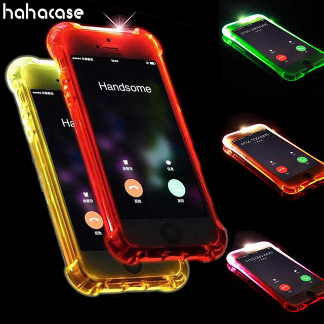 meet e6db9 df687 US $90.0 |100pcs LED Call Light Up Flash Transparent Case For iPhone XS Max  XR X 8 7 6 6S Plus 5 Samsung S8 Plus S7 Edge Soft TPU Cover-in Fitted ...