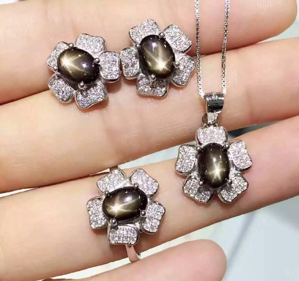 Natural Starlight sapphire stone wedding jewelry sets natural gemstone ring necklace earrings S925 silver Fashion rose Flowers