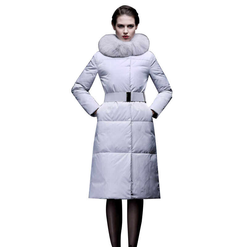 2017 Winter Coat Women Elegant X-Long Jacket With Fox Fur Collar And Belt Eiderdown Cotton Padded Parka Abrigos Mujer Casacos 2017 winter new clothes to overcome the coat of women in the long reed rabbit hair fur fur coat fox raccoon fur collar