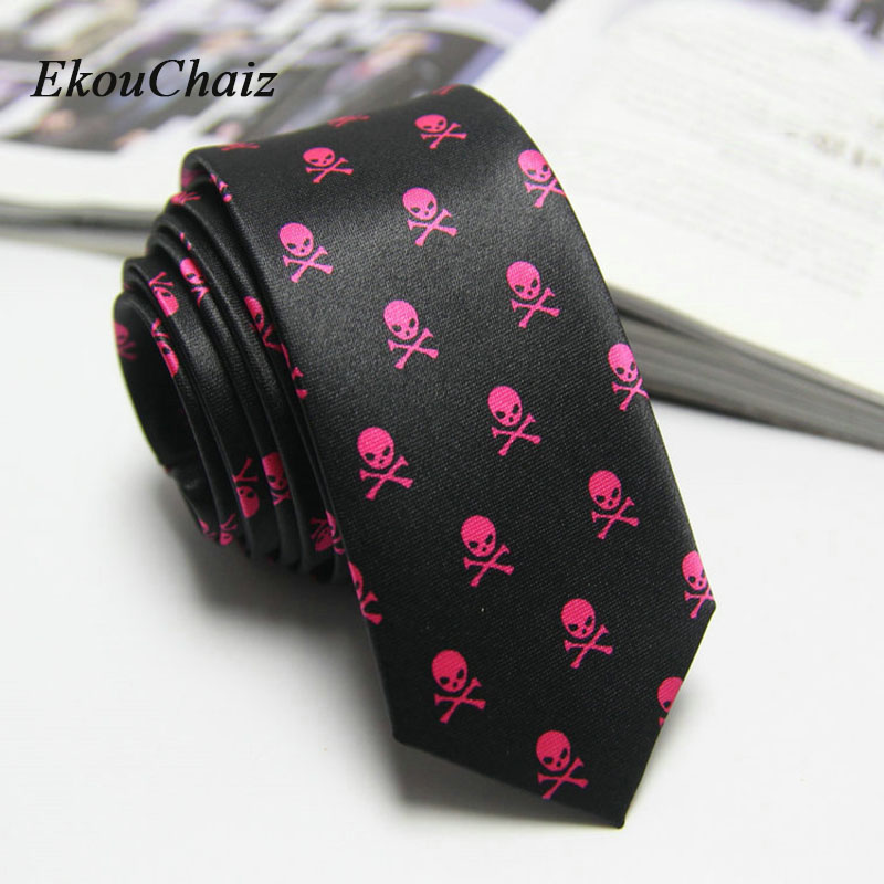 Men Black Red Neck Tie Skull Classical Slim Skinny Corbata Ties Imitation Silk Wedding Party Business Artificial Silk Man Gifts