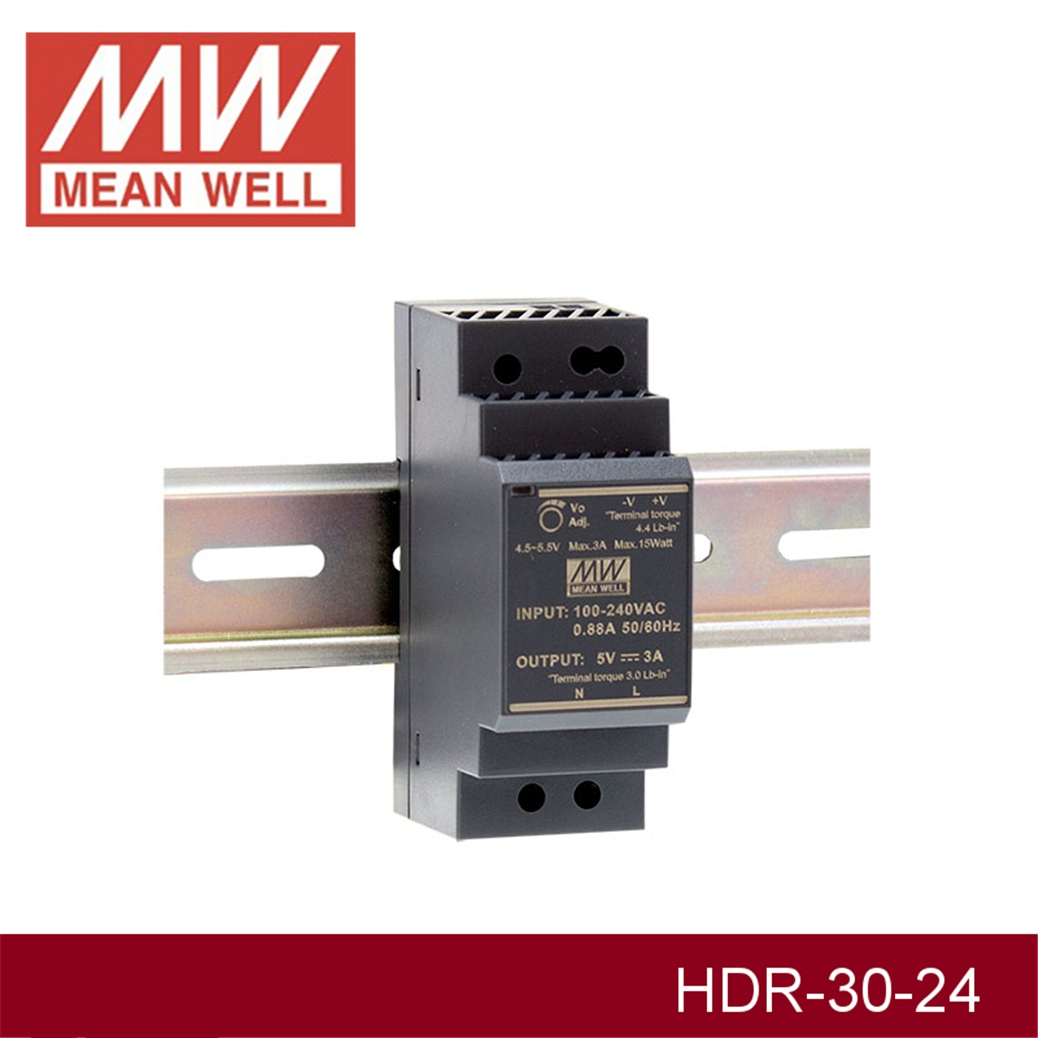 (12.12)MEAN WELL HDR-30-24 24V 1.5A meanwell HDR-30 36W Single Output Industrial DIN Rail Power Supply original mean well hdr 100 24 3 83a 24v 92w meanwell ultra slim step shape din rail power supply dc output adjustable