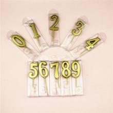 1 шт золотые свечи с цифрами 0-9 для дня рождения, свадьбы, украшения для торта, безопасные бездымные украшения TR005