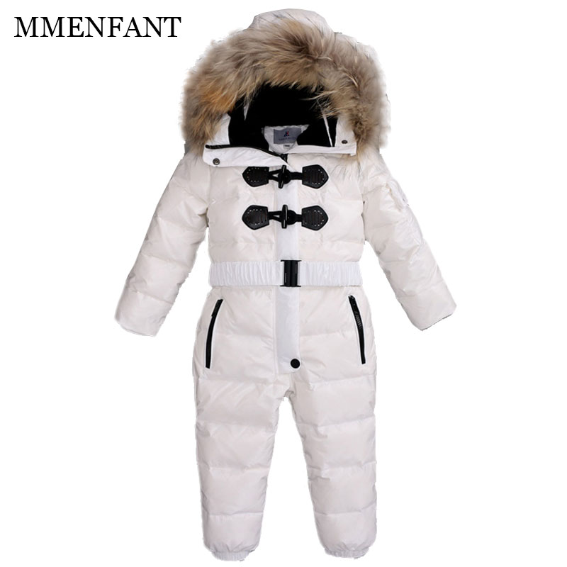 children sets girls and boys Down jacket baby rompers 2017 winter duck down jumpsuit coats kids ski suit for Russia -35 degrees