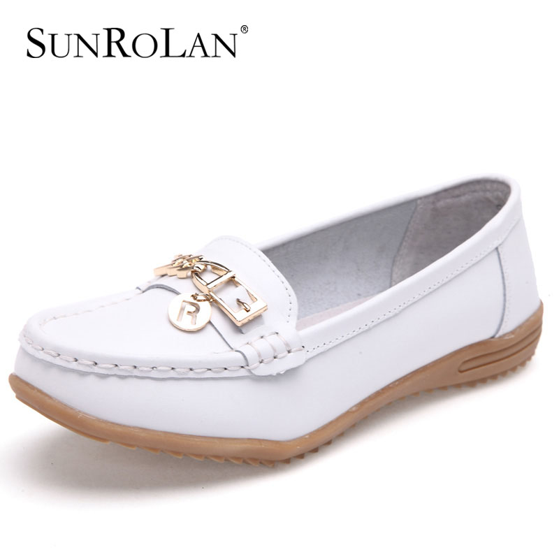 SUNROLAN 2017 Plus Size 11 12 Women Shoes Genuine Leather Flats Woman Causal Round Toe White Nurse Shoes Lady Shoes Women 515