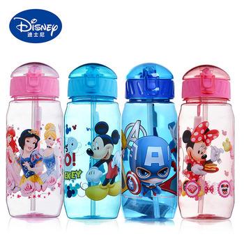 450ML butelka na wodę dla dziecka Tritan BPA bezpłatny kubek dla dzieci dziecko przenośne karmienie butelka ze słomką szczelna trwała filiżanka wody tanie i dobre opinie Disney 420 ml DN008 Drinkware Cartoon