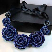 Женщины преувеличены воротники neckalce элегантные цветы кулон веревку цепи ожерелье