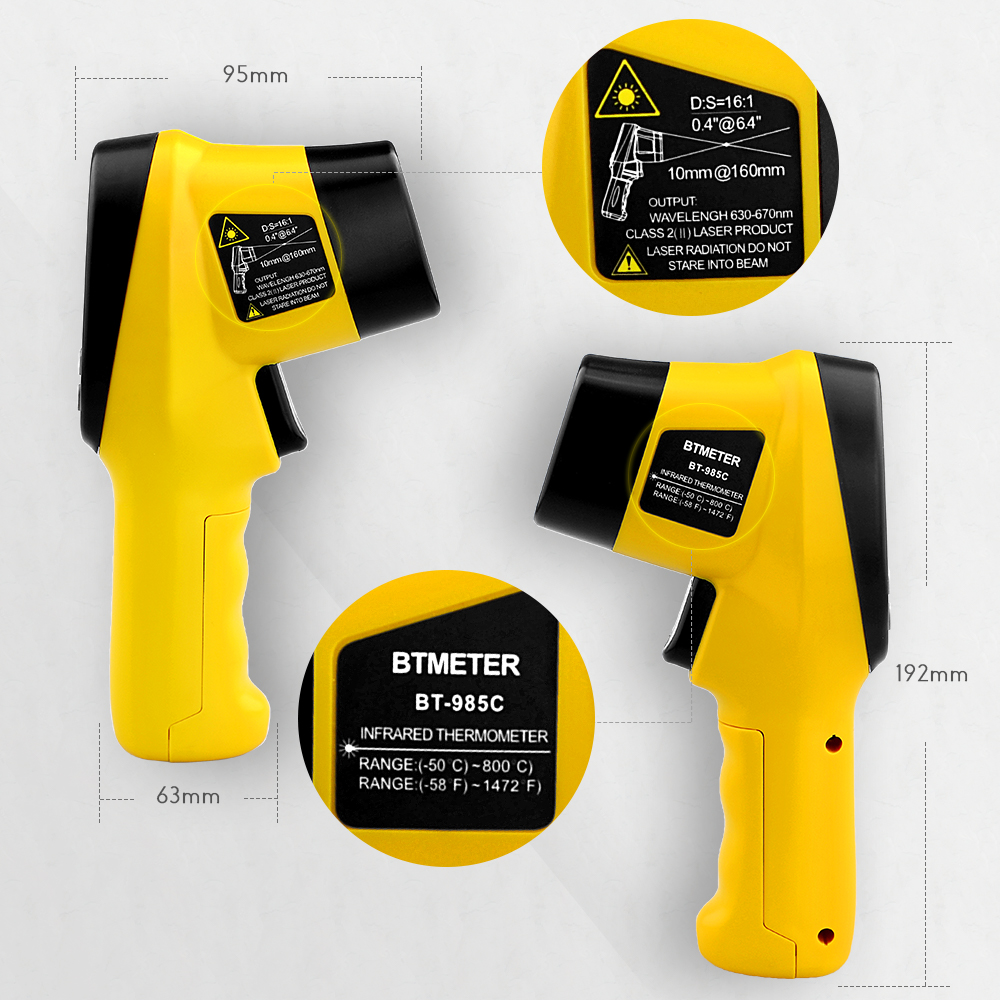 BTMETER BT 985C Infrared Thermometer Gun Non Contact 16 1 IR Laser Temperature Gun Digital Instant