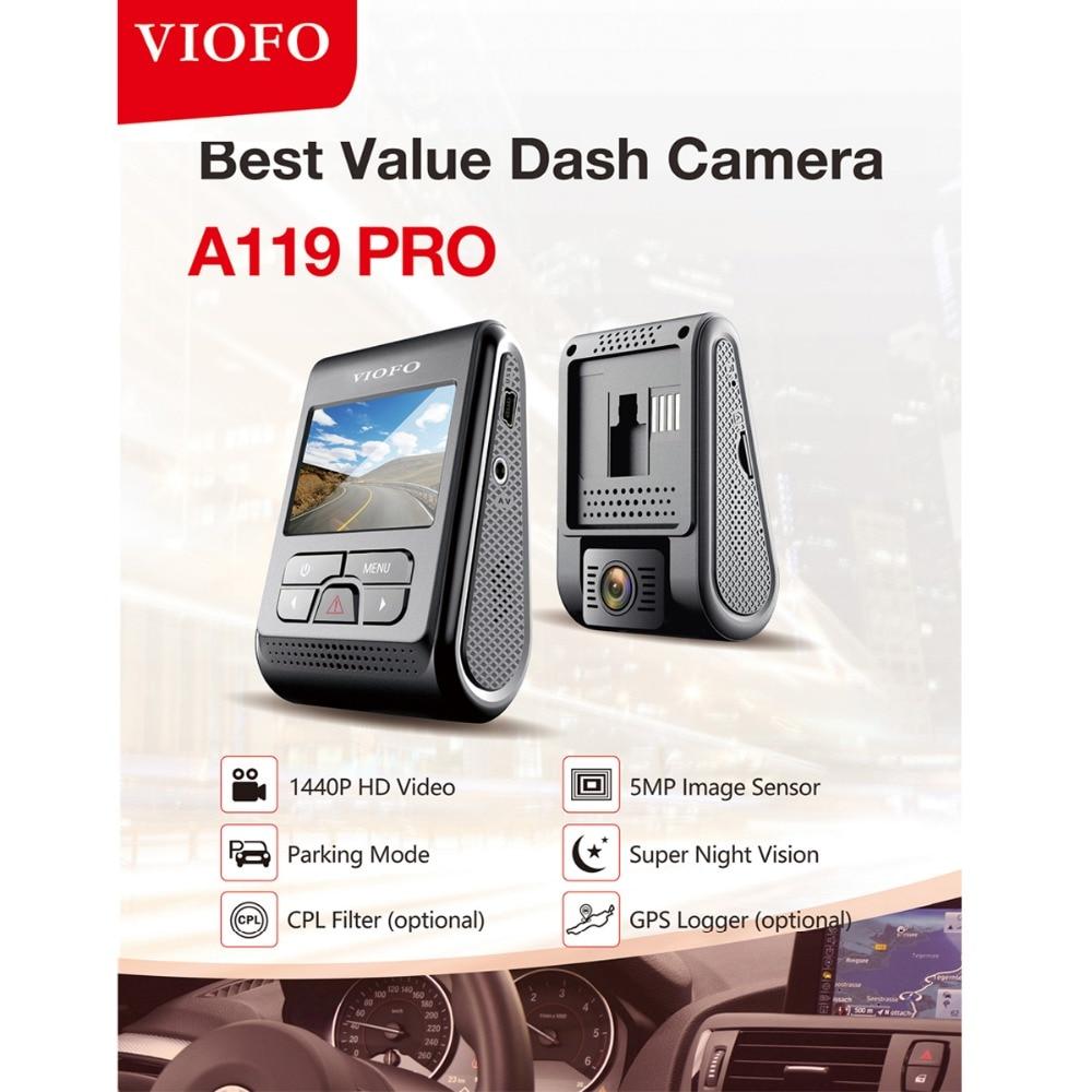 Originale VIOFO A119 Pro 2.0 LCD Condensatore 2 k 1440 p Novatek 96660 HD Car Dash Video Recorder DVR GPS opzionale CPL FiltroOriginale VIOFO A119 Pro 2.0 LCD Condensatore 2 k 1440 p Novatek 96660 HD Car Dash Video Recorder DVR GPS opzionale CPL Filtro