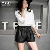 black Shorts Women High Waist Shorts 2018 Wide Leg Short Female Casual Shorts Sheepskin Genuine Leather Loose Fit Plus SizeM 2XL