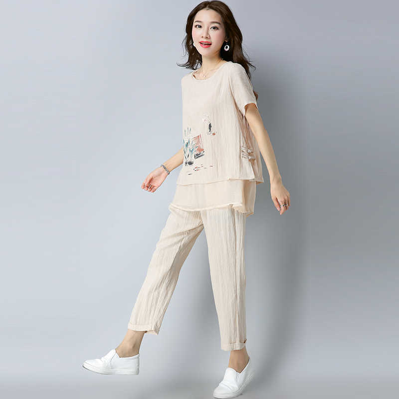 2019 Summer Cotton Linen Printed Two Piece Sets Women Plus Size Short Sleeve Blouse And Pants Suits Casual Elegant Women's Sets