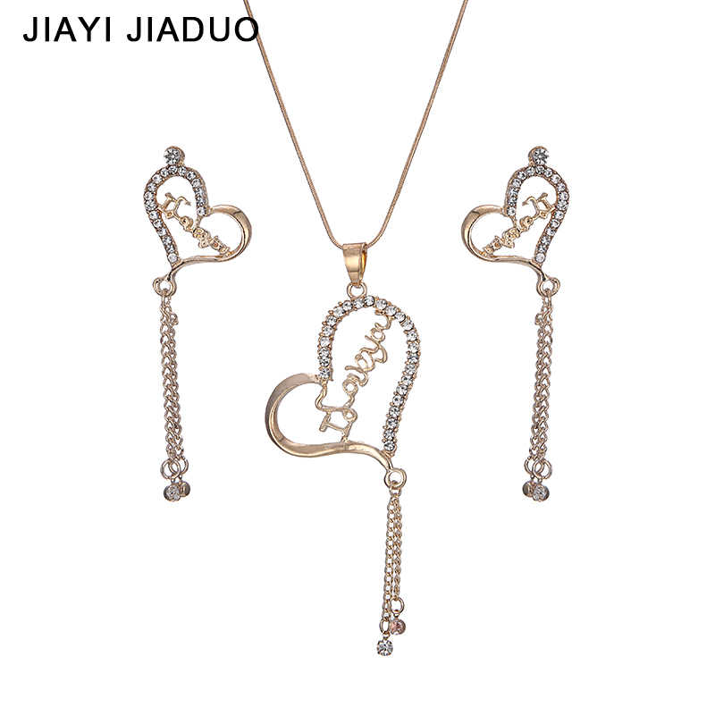 jiayijiaduo Fashion pendant Jewelry sets gold color Necklace earrings set for women party Wedding Accessories  gift lover