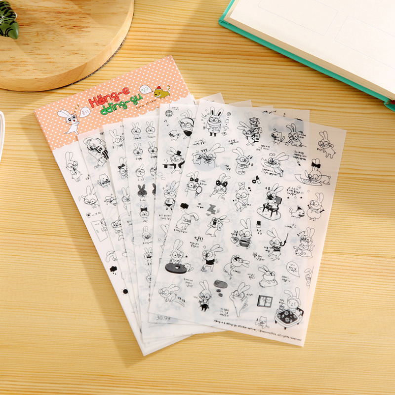 Творческий прозрачный ПВХ наклейки милые Черный и Белый Кот фото альбом для декоративных наклеек детская игрушка Сделай Сам 6 листа/уп наклейки для ногтей с изображением