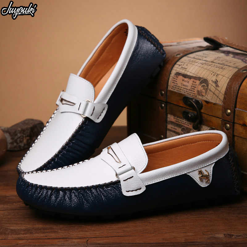 f9fa7c7afa3 Juyouki Natural Cow Suede Men s Casual Shoes Alligator Style Male Loafers  Slip on Ferrary Lazy Shoes