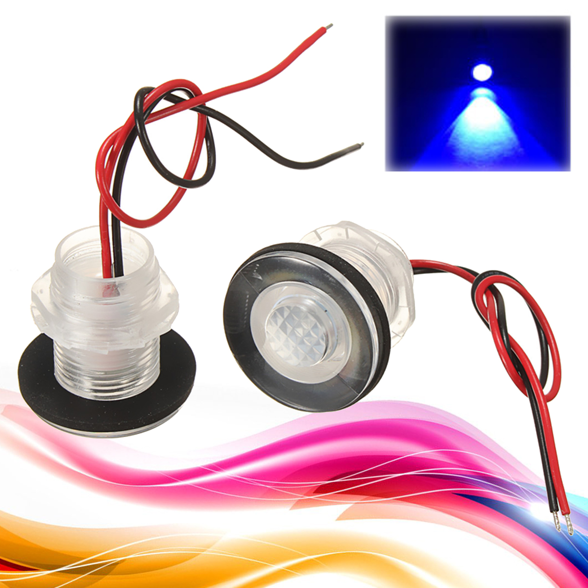 2Pcs 0.2W 12V RV Waterproof LED Courtesy Light Lamp Blue 33mm for Boats Stair Truck Car