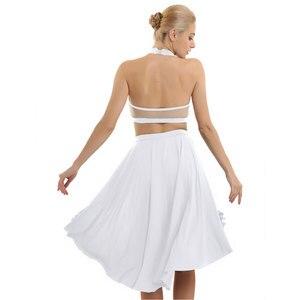 Image 5 - Ballet Dress Adult Women Asymmetric Lyrical Dance Costumes Ballet Leotard For Women  Halter Neck Backless Crop Top with Skirt