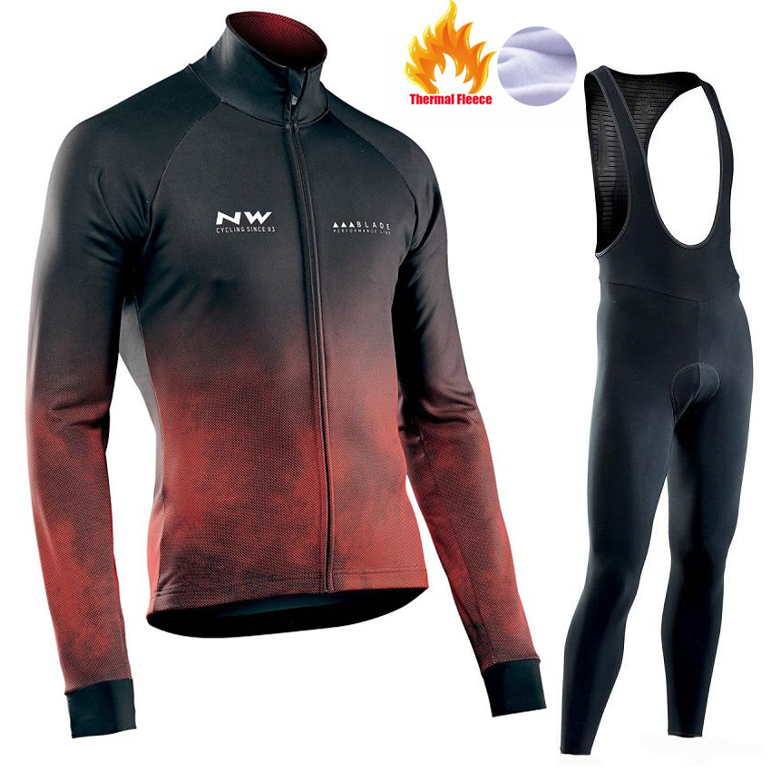 2019 NW Thermal Fleece Long Sleeves Team Cycling Jersey Set with Black Bib Pants Winter Outdoor Sport Coat Suit Bicycle Clothing2019 NW Thermal Fleece Long Sleeves Team Cycling Jersey Set with Black Bib Pants Winter Outdoor Sport Coat Suit Bicycle Clothing