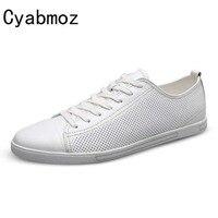 Cyabmoz 2018 جديد وصول الصيف الرجال الاحذية أسود أبيض انقسام الجلود تنفس الشقق الدانتيل يصل الرجال hombres zapatos