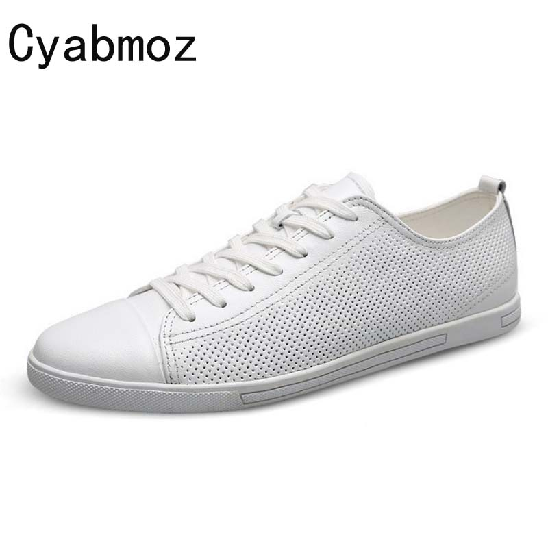 Cyabmoz 2018 New Arrival Summer Men's Casual Shoes Black White Split Leather Breathable Flats Lace Up Men Shoes Hombres Zapatos 2017 free shipping new arrival traditional tavas women colors casual shoes breathable max size 36 42 black white superstar