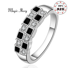 Magic Ikery Brand Jewelry Silver Plated Zircon Crystal male Wedding Fashion Round Rings for men Jewelry Gift MKLR619
