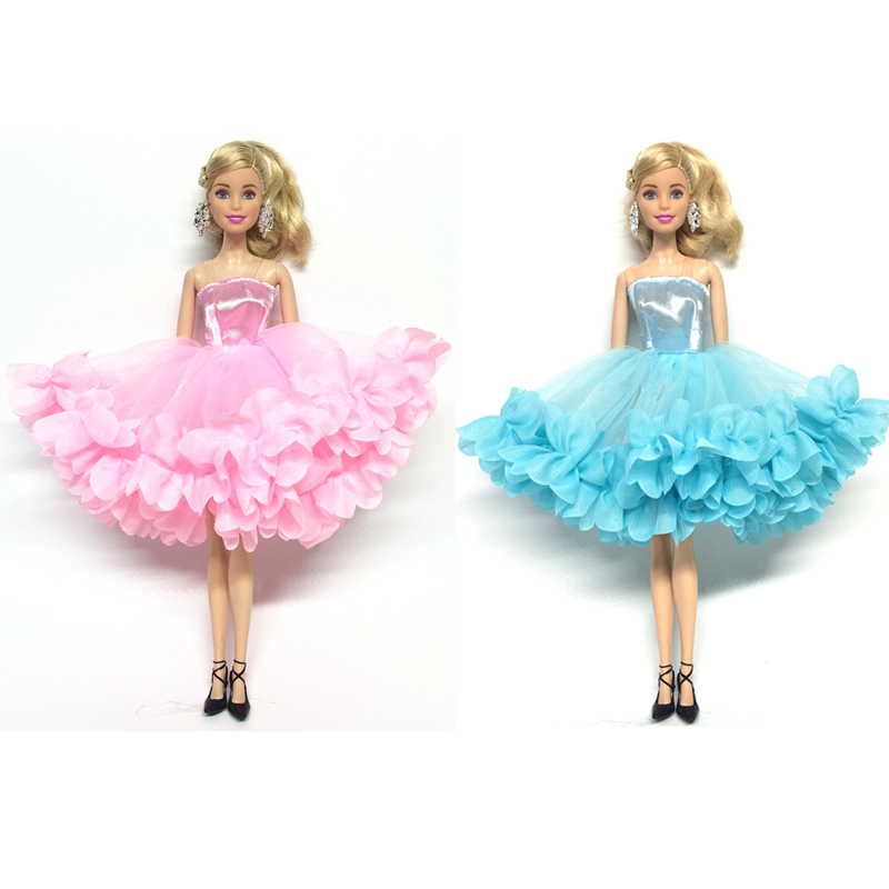 NK 2018 Newest Doll Dress Beautiful Multi-layer Dress Top Fashion Party Outfit For Barbie Doll For 1/6 BJD Dolls Accessories 26 item pcs 10 pcs beautiful party barbie clothes fashion dress 6 plastic necklace 10 pair shoes for barbie doll accessories